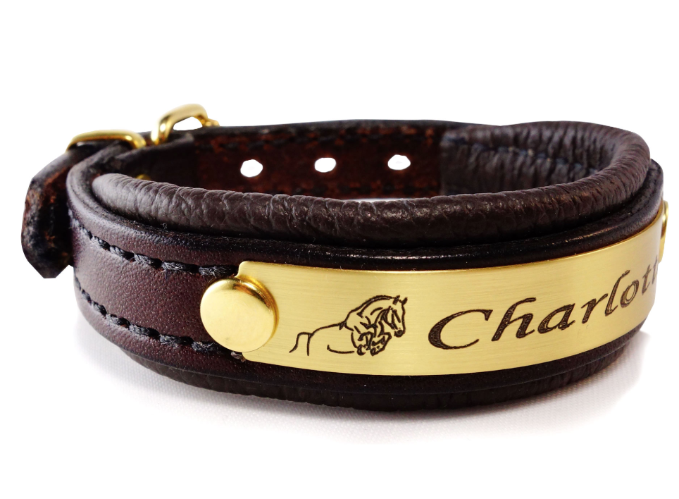 Brown padded leather nameplate bracelet - Brass